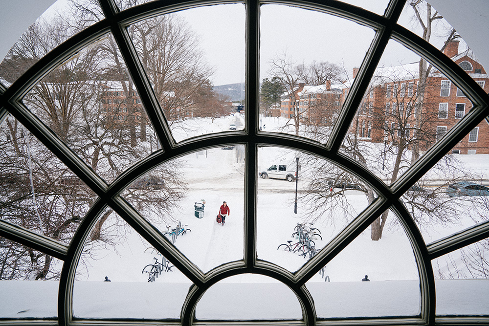 Snowstorm through window in Baker Library
