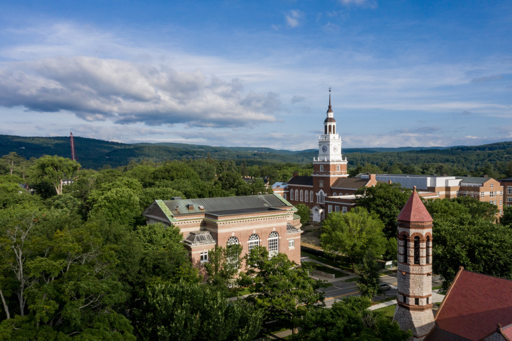 Aerial photo of Dartmouth campus in summer