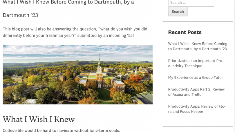 """A recent blog post titled """"What I Wish I Knew Before Coming to Dartmouth, by a Dartmouth '23."""" There is a recent posts section to the right."""