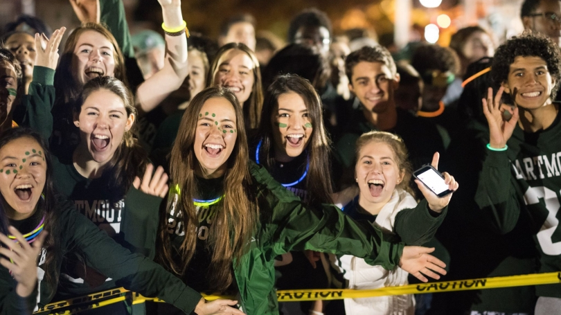 First-years at the Homecoming Bonfire