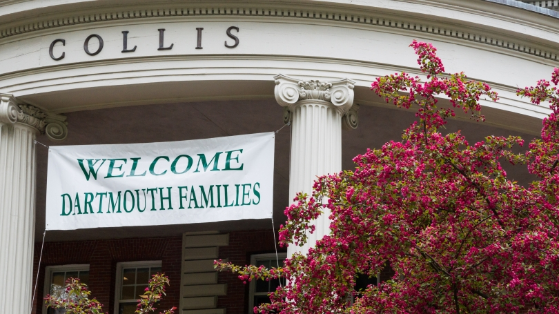 Family Weekends Banner on the Collis Center