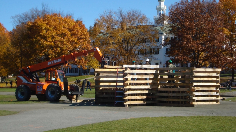 Construction of the Homecoming bonfire.