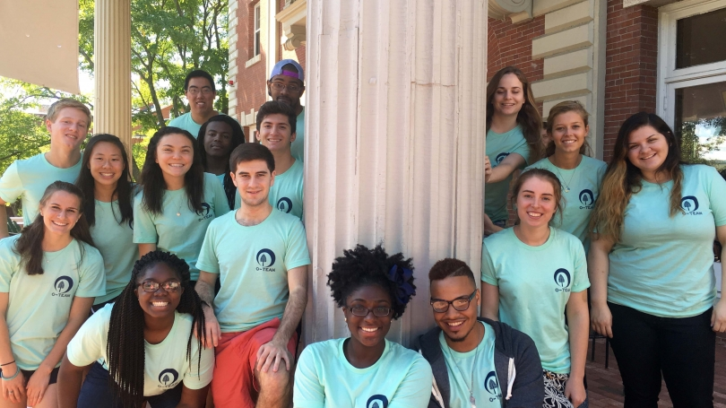 Members of the Orientation Team in front of Collis.
