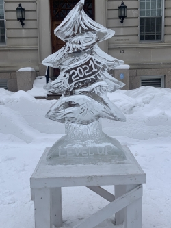Ice sculpture image of pine tree