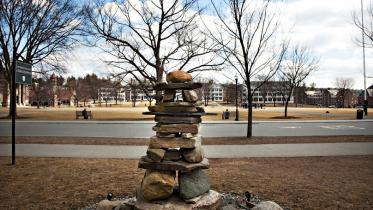 Rock sculpture in front of admissions building