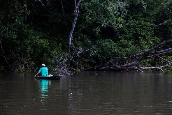 A ribeirinho boats on the Xingu River