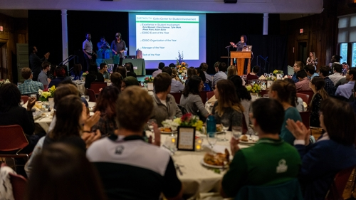 Student leaders gather for the awards banquet at Collis Common Ground
