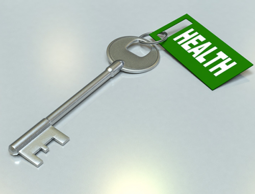 A key with a health tag.