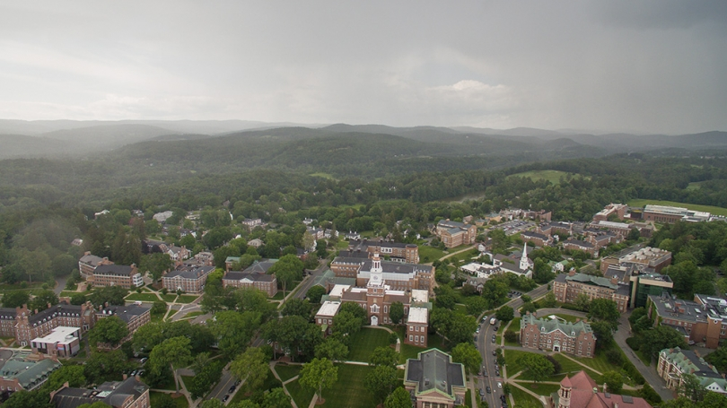 An aerial photo of Dartmouth's campus