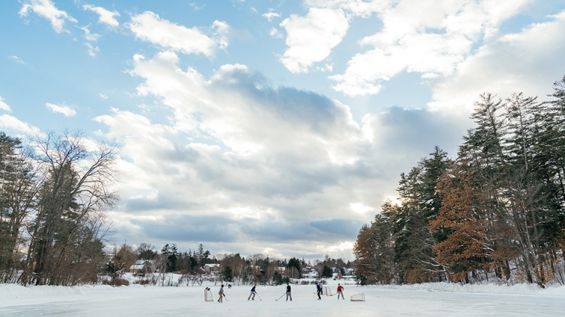 Students ice skate on Occom Pond.