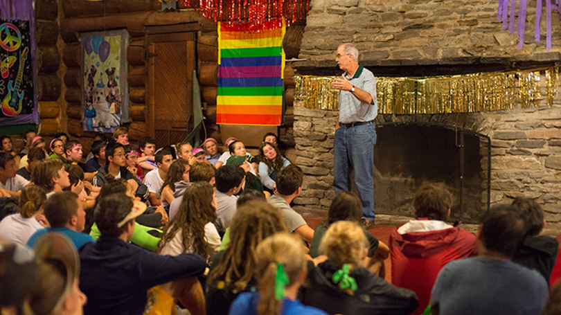 President Hanlon speaks to students during an LGBTIA+ event.