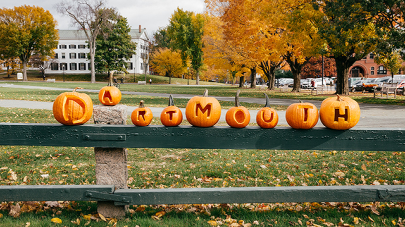 Pumpkins carved with Dartmouth letters sit on a fence.