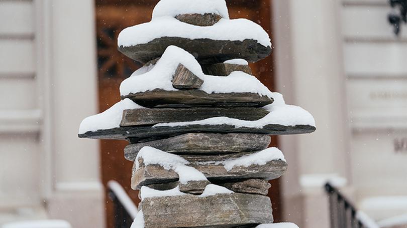 Snow on the rocks outside of Parkhurst Hall.