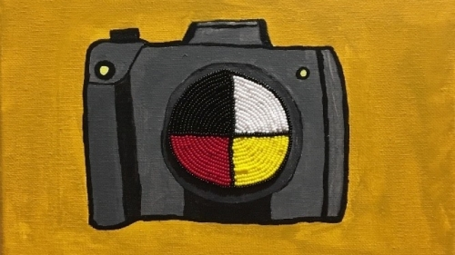 Camera Medicine, a beaded painting by Caitlin Wanic '21, is among three pieces featured in a student spotlight about Wanic, a Native American Studies and studio art major.