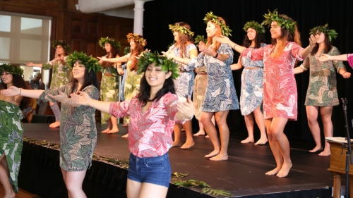 Members of Dartmouth's Hokupa'a club perform traditional dances