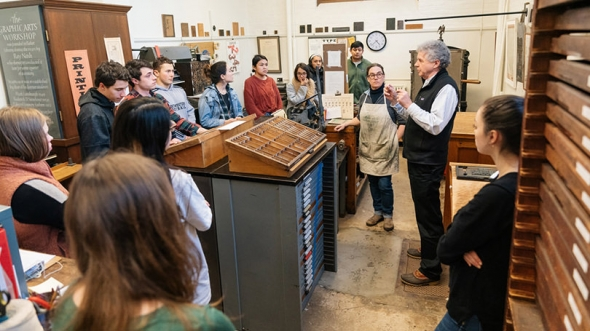 "Earlier this year, Professor Colin Calloway's ""Pen and Ink Witchcraft"" class learned to make prints using Cherokee type in the Book Arts Workshop."