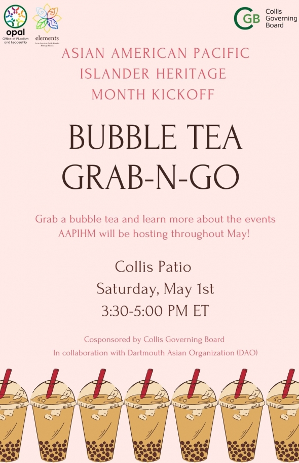 Flyer for AAPIHM 2021 Bubble Tea Grab-N-Go. Event details on top of a light pink background with a row of bubble tea at the bottom.