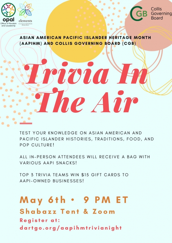 Flyer for AAPIHM 2021 Trivia in the Air. Light blue background with yellow and pink circles, dots, and lines