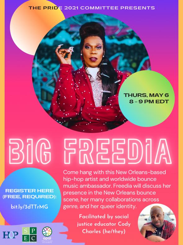 Flyer for Pride 2021 Talk Back with Big Freedia