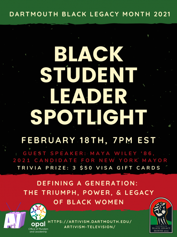 Flyer for BLM Black Student Leader Spotlight event
