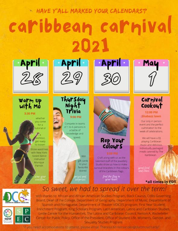 Calendar for Caribbean Carnival 2021