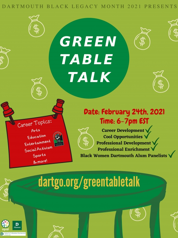 Flyer for BLM 2021 Green Table Talk. A drawing of a green table in front of a light green background with money bag icons.