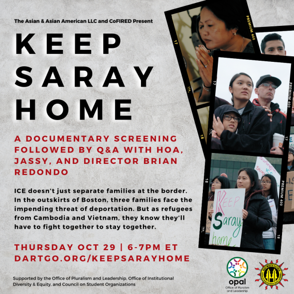 Pictures of a woman praying, a woman holding a boy, and another woman holding a sign that says Keep Saray Home