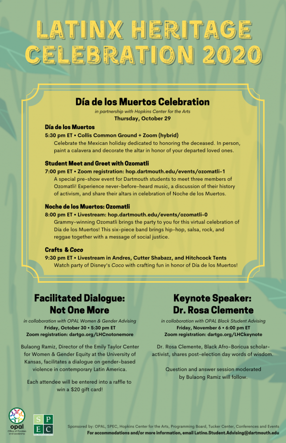 Latinx Heritage Month 2020 flyer. Text on a yellow and green graphic background.