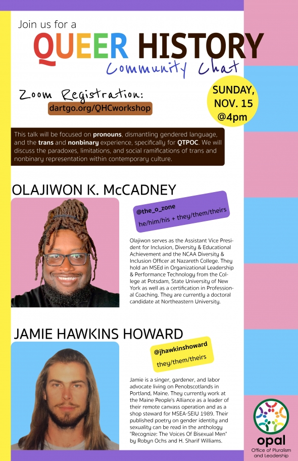 Flyer for Queer History Community Chat, including pictures of Olajiwon K McCadney and Jamie Hawkins Howard with the colors of the Transgender Pride Flag on the right border