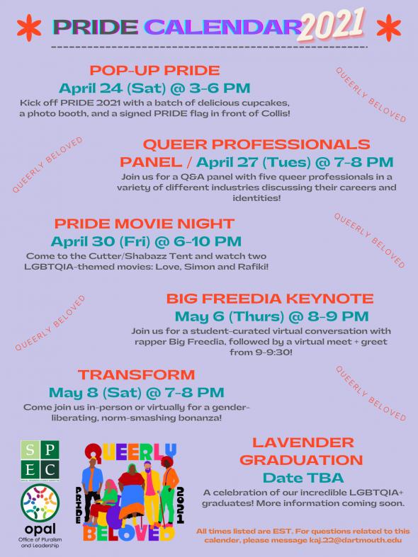 Calendar for Pride 2021