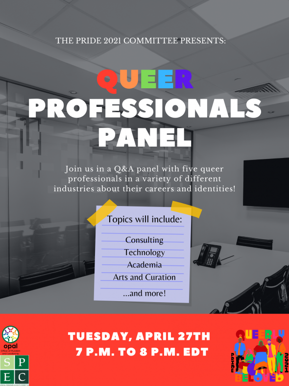 Flyer for Pride 2021 Queer Professionals Panel