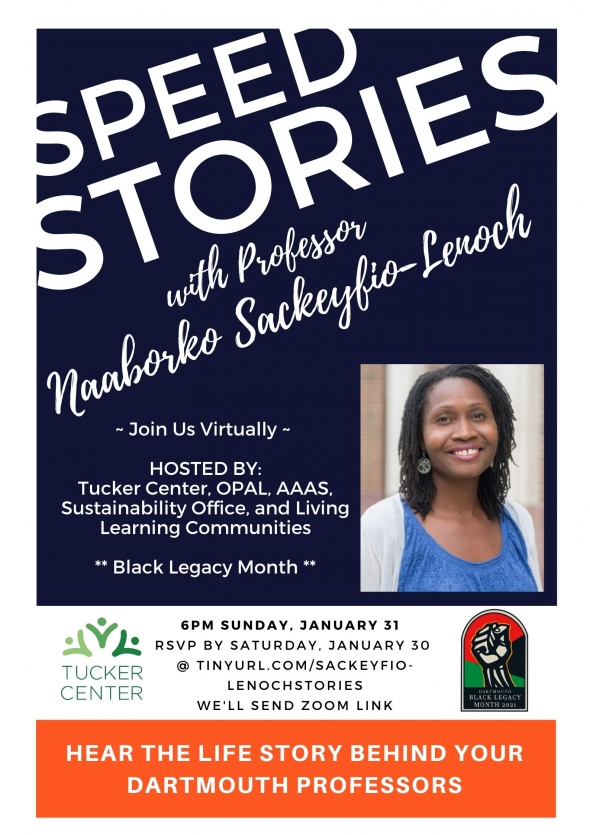 Flyer for BLM 2021 Speed Stories with Prof Naaborko Sackeyfio-Lenoch