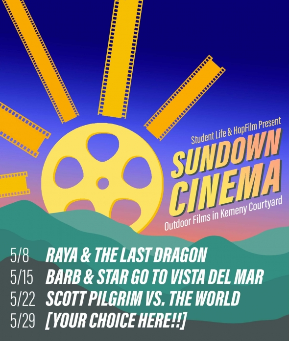 Flyer for Sundown Cinema film screenings. A graphic of green mountains in the foreground with a sun made up of a film reel and film strips setting behind them.