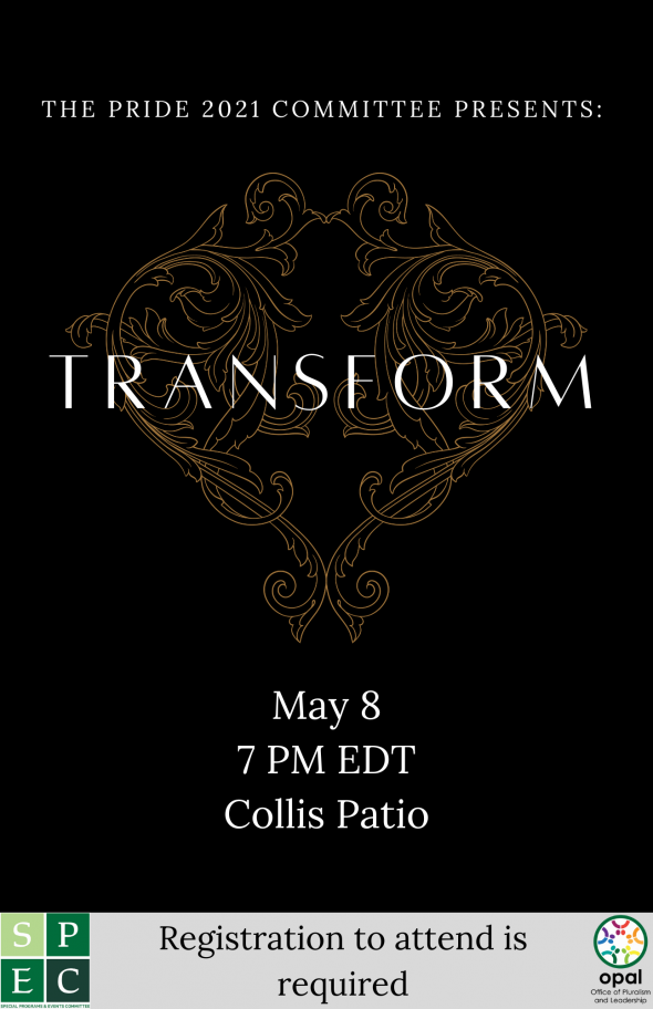 Flyer for Pride 2021 Transform. White text on a black background with a gold design.