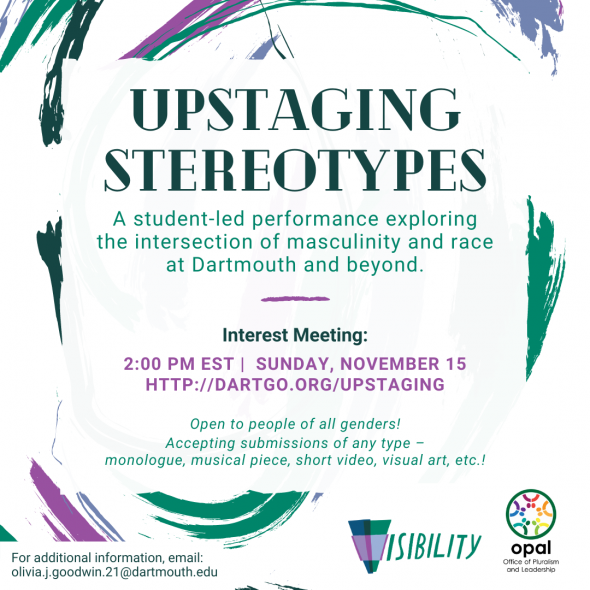 A flyer with information about Upstaging Stereotypes, with a background of teal and purple brushstrokes