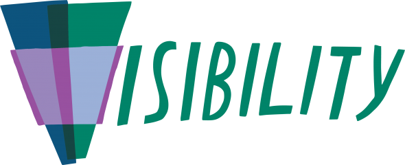 The word visibility written in all caps. The first letter is made up of blue, green, and purple shapes, with the rest of the word in green.
