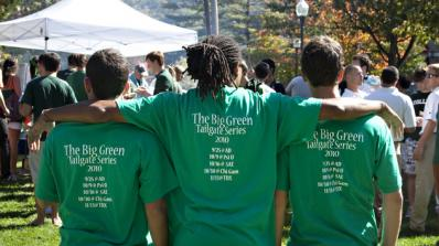 Fraternity members tailgating at a Dartmouth football game.