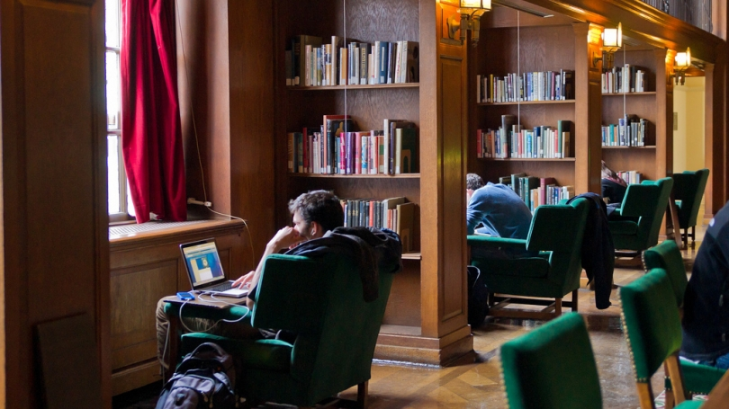 Students studying in the Tower Room in Baker-Berry LIbrary.