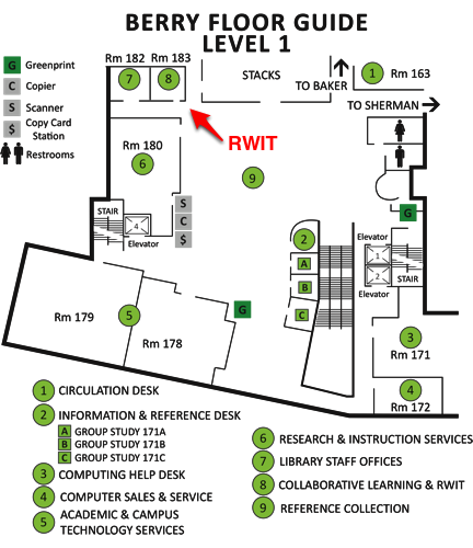Picture of the location of the RWIT Writing Center on the first floor of Berry Library, Dartmouth College