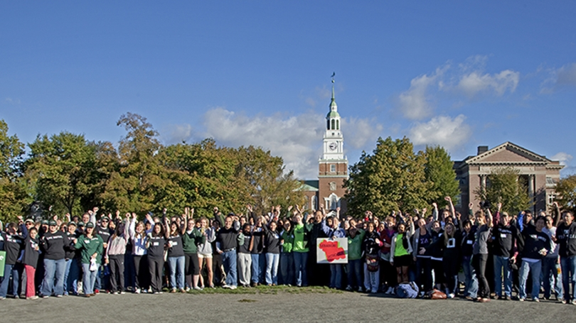 All DCSI students posing on the Dartmouth Green.