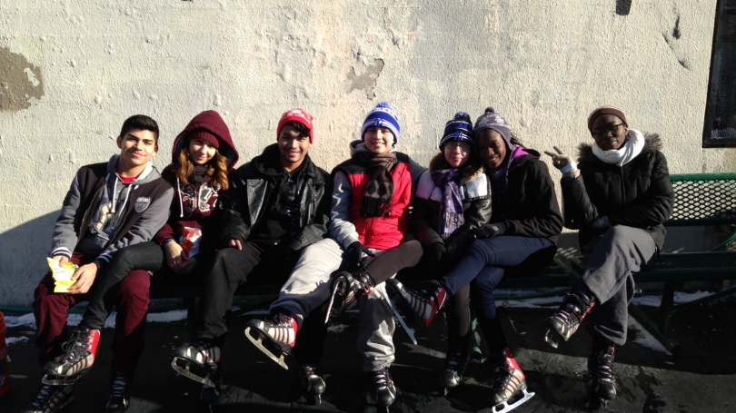 SEAD students pose on an ice skating outing.