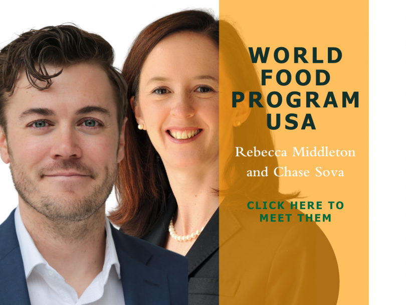 Rebecca Middleton (Chief Advocacy and Engagement Officer) and Chase Sova (Senior Director of Public Policy and Thought Leadership) at the World Food Program USA