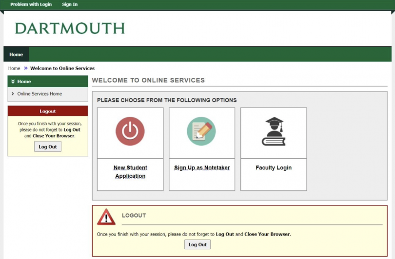 Image of the a11y login screen, showing a link to login in the top left corner of the screen