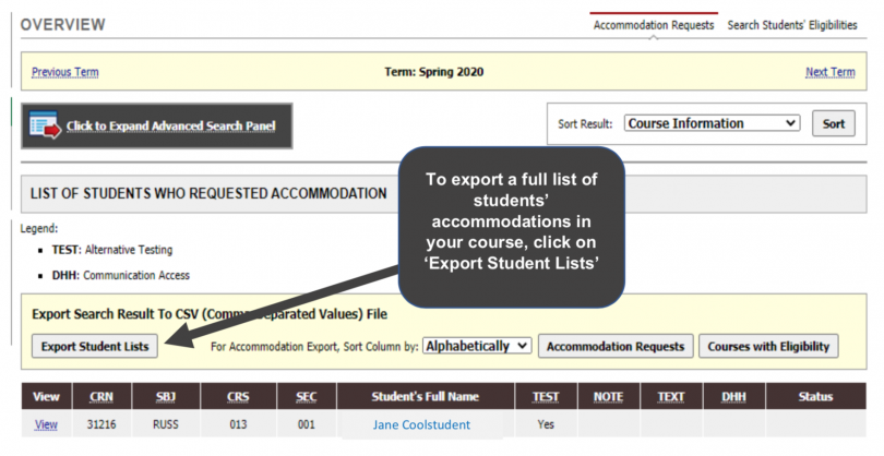 """Screenshot points to the """"Export Student Lists"""" button"""