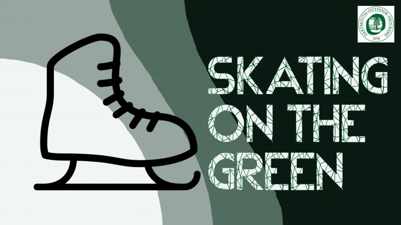 Skating on the Green logo - ice skate icon and text
