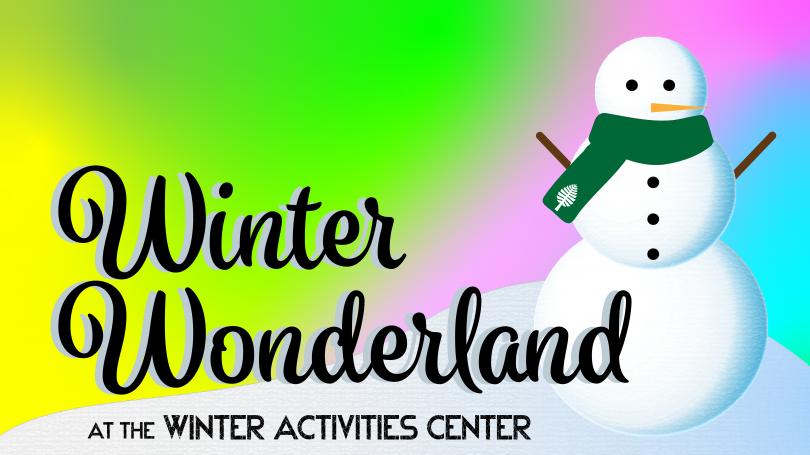 Winter Wonderland logo - snowman with aurora borealis background