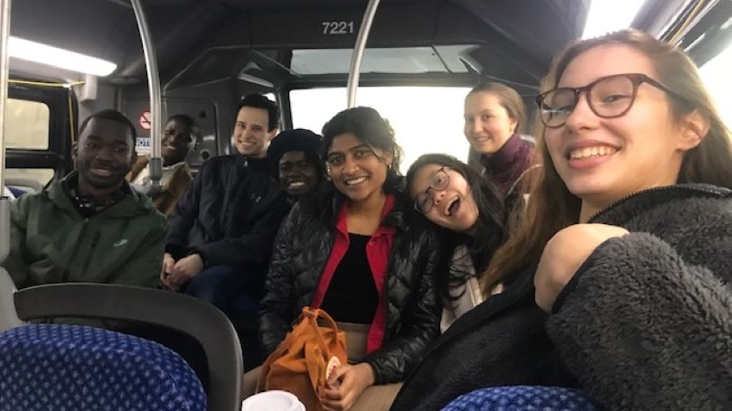 Students riding bus on 2019 ASB trip