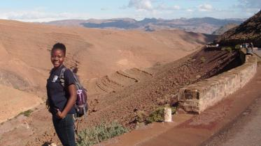Research student in desert