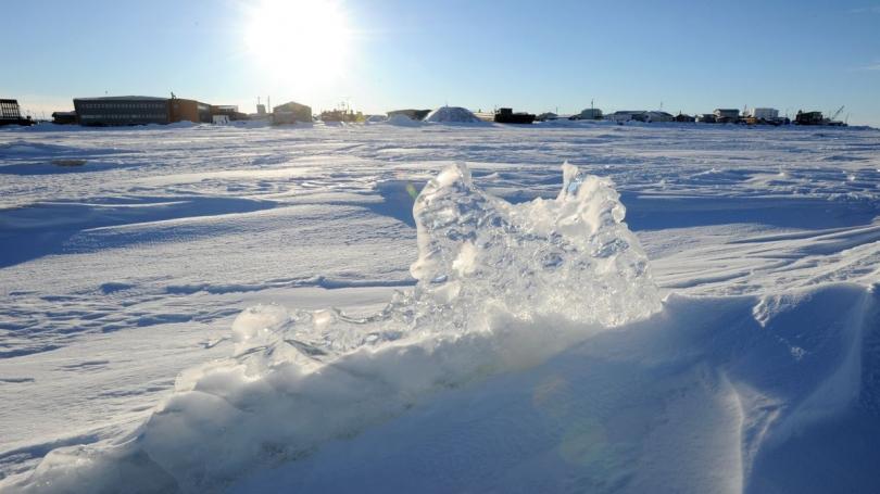 Ice stacked up on the Kotzebue Sound