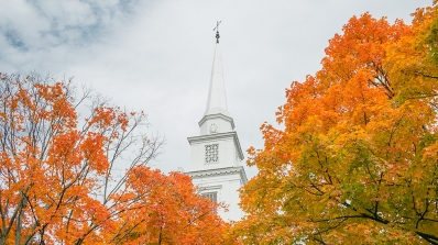 Baker Tower and fall foliage.